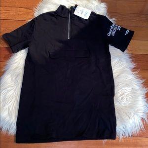 Zara black mock neck half zip sweatshirt dress